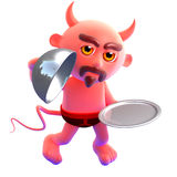 3d Devil waiter Royalty Free Stock Photo
