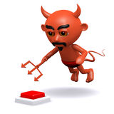 3d Devil wants to press the alarm Royalty Free Stock Photo