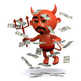 3d Devil with a windfall of US Dollars Stock Photo