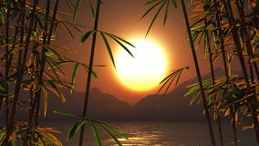 3D di bambù contro un paesaggio di tramonto royalty illustrazione gratis