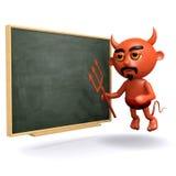 3d diabeł przy blackboard Zdjęcie Royalty Free