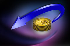3d diagram of golden coins with a arrow. On abstract background Stock Photography