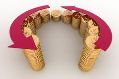3d diagram of golden coins with a arrow. On a white background Royalty Free Stock Photos