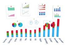 3d diagram met muur van grafieken Stock Fotografie