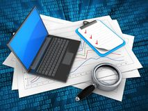 3d diagram papers. 3d illustration of diagram papers and black laptop over digital background with clipboard Royalty Free Stock Image