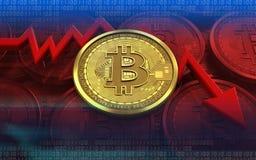 3d diagram van de bitcoinmislukking Stock Foto