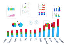 3d diagram with wall of charts Stock Photography