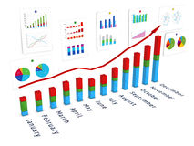 3d diagram with wall of charts and red arrow Royalty Free Stock Images
