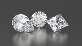 3D diamanter för illustration tre rundar, prinsar, päron med reflekterar Arkivfoto