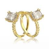 3D diamantes rin decorativo del oro amarillo del ejemplo dos Foto de archivo libre de regalías