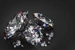3D diamond render on black background. Illustration of 3D diamonds rendered on a slightly reflective black background Royalty Free Stock Photos