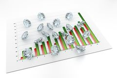 3D Diamonds - Chart. (12 Months Stock Photography