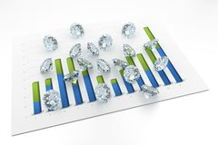 3D Diamonds - Chart. (12 Months Stock Photos