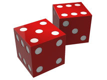 3D dice allocated on a white background Royalty Free Stock Photos