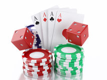 3d dice, cards and chips. Casino concept. Isolated white background. 3d renderer image. Dice, cards and chips. Casino concept, isolated white background stock illustration