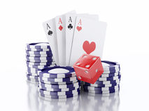 3d dice, cards and chips. Casino concept. Isolated white backgro Royalty Free Stock Image