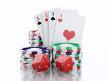 3d dice, cards and chips. Casino concept. Isolated white backgro Stock Images