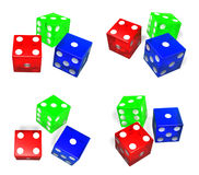 3D Dice icon tricolor. 3D Icon Design Series. Royalty Free Stock Images
