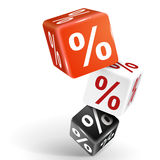 3d dice illustration with word percent sign Royalty Free Stock Photo