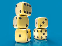 3D  Dices Group. 3D  Golden Dices Group Royalty Free Stock Photo