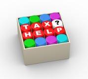 3d dices podatek pomoc w pudełku Obraz Royalty Free