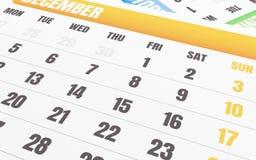 3d Dichte omhooggaand van december-kalender Stock Foto