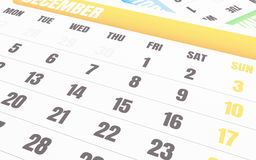 3d Dichte omhooggaand van december-kalender Stock Afbeelding