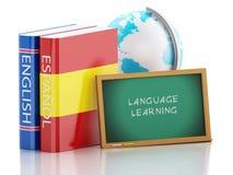3d Dictionaries and Blackboard. Language learning. 3d renderer illustration. Dictionaries and Blackboard. Language learning and translate, education concept Stock Photos