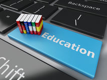 3d Dictionaries on computer keyboard. E-learning Royalty Free Stock Photo