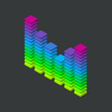 3d digital colorful equalizer. Music sound waves visualization. Isometric vector illustration Royalty Free Stock Images