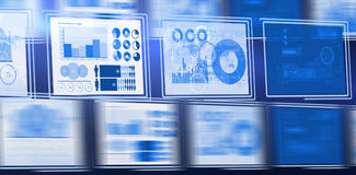 Vector image of business graphs arranged. 3d Digital composite image of business graphs arranged Stock Photos
