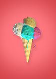 3D Digital 4 Cones Ice Cream Melting. 3D Digital, Green, White, yellow and pink Ice Cream cones overflowing and melting on top of a digital waffle on a lightly stock photography