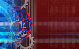 3d digital. 3d illustration of molecular structure over red background with gears Royalty Free Stock Photography