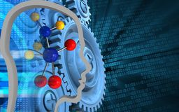 3d digital. 3d illustration of molecule over binary background with blue gears Stock Photo