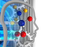 3d digital. 3d illustration of molecule over white background with gears Royalty Free Stock Photo