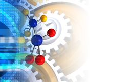 3d digital. 3d illustration of molecule over white background with gears Stock Image
