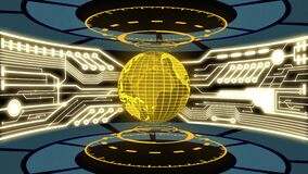 3D Digital earth and digital circuit in golden color theme laboratory