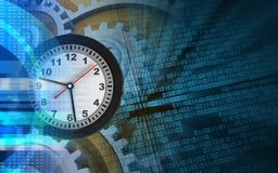 3d digital. 3d illustration of clock over binary background with gears Royalty Free Stock Images