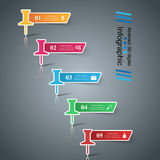 3D digital illustration Infographic Pin Icon Arkivfoto