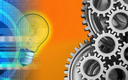 3d digital. 3d illustration of light bulb over orange background with mechanic Royalty Free Stock Photography