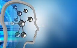 3d digital. 3d illustration of molecule over blue background with head contour Stock Images