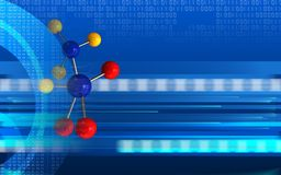 3d digital. 3d illustration of molecule over cyber background with Stock Photos