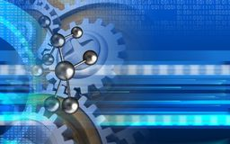 3d digital. 3d illustration of molecule over cyber background with gears Stock Photos