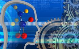 3d digital. 3d illustration of molecule over cyber background with gears system Stock Photography
