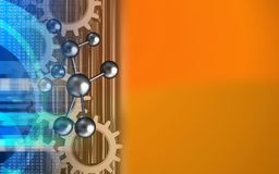 3d digital. 3d illustration of molecule over orange background with gears Royalty Free Stock Images