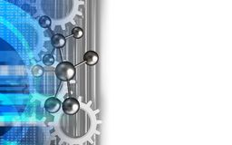 3d digital. 3d illustration of molecule over white background with gears Stock Photography