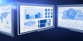Digital image of business graphs. 3d Digital image of business graphs against white background Stock Photo
