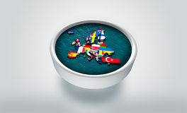 3D Digital Map of Europe drifting on shaky waters on top of 3D plate - Graphic Concept Stock Photo