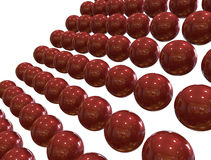 3D digital render of red  - chrome spheres. Isolated over white background Stock Photos
