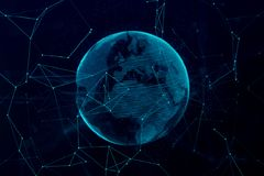 3d digital rendering blue planet earth globe, with glow connection point, internet network media technology globalization concept royalty free illustration